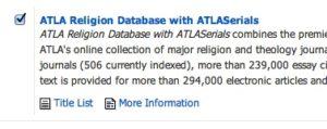 EBSCO Religion Database